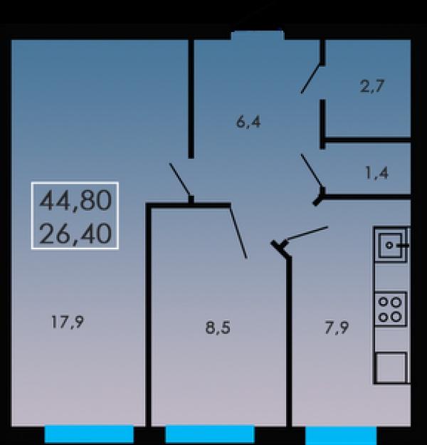 Планировки двухкомнатных квартир 44.8 м^2
